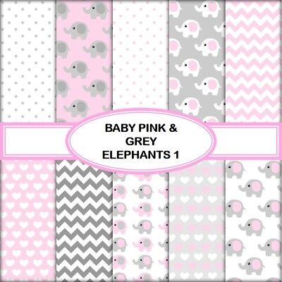 BABY PINK & GREY ELEPHANTS 1 SCRAPBOOK PAPER - 10 x A4 pages