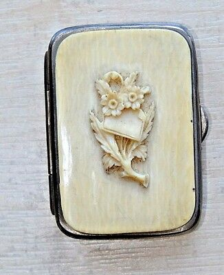 An Antique 19th Cent Victorian French Hand Carved Bovine Cow Bone Coin Purse
