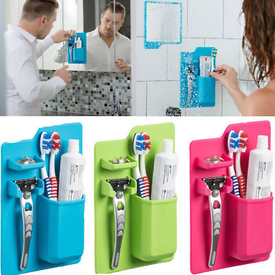 Silicone Razor Toothbrush Holder Bathroom Storage Space Saver Shower Organizer
