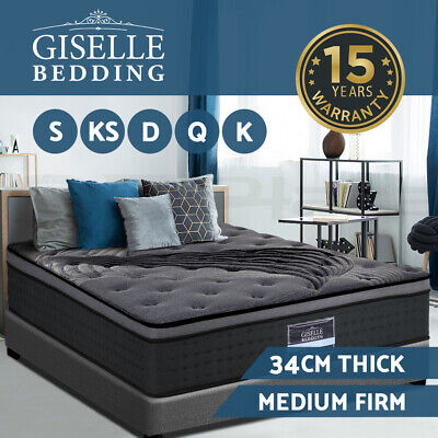 Giselle Bedding Double Queen King Mattress Bed Pocket Spring Foam Bamboo 34CM