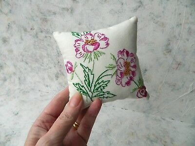 Hand Embroidered Wild Rose Pincushion Pin Holder ~  Craft Room Sewing Gift