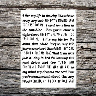 cool birthday/any occasion card music/oasis theme rock and roll star lyrics