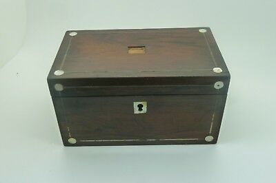 Antique Rosewood Tea Caddy Silver And Mother Of Pearl Inlay.