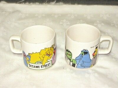 A Pair of Vintage 1981 Crown Lynn N.Z Sesame Street Muppets Inc Coffee Mugs