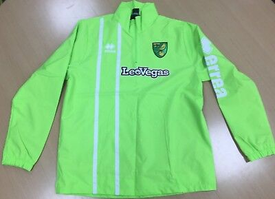 OFFICIAL NORWICH CITY FC 2017-18 PLAYER WORN TRAINING RAIN JACKET 1/4 Zip