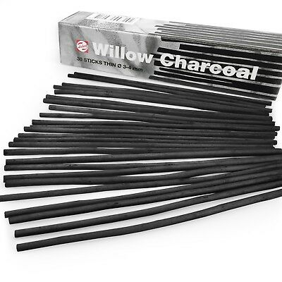 Royal Talens – Artist Sketching Willow Charcoal Sticks - Thin 3-4mm – Pack of 30