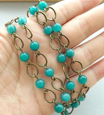 "Handmade for jewelry makers-8"" gemstone chain-6mm teal blue Agate beads, raw bra"