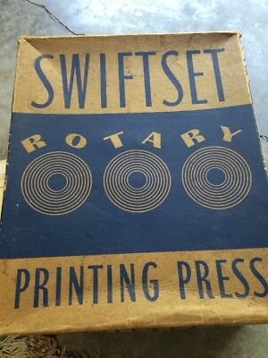 Vintage Swiftset Rotary Printing Press With Instructions USA 1938 Plus Stamp Set