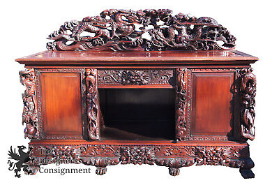 Japanese Export Art Nouveau High Relief Rosewood Dragon Carved Sideboard Buffet