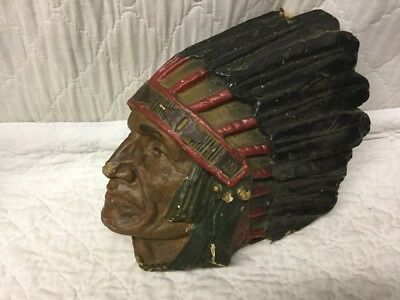Antique Paper Mache Composition Native American Indian Embossed Advertising Sign