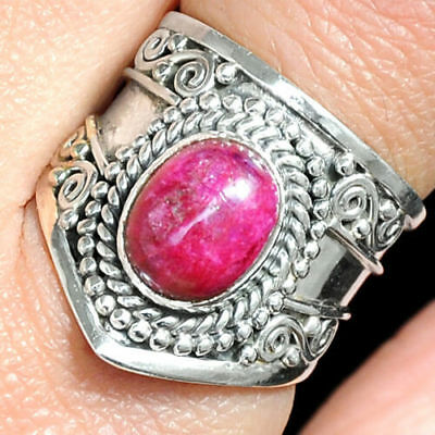 Solid 925 Sterling Silver Ruby Ring Pink Gemstone Women Handmade Jewelry Size 10