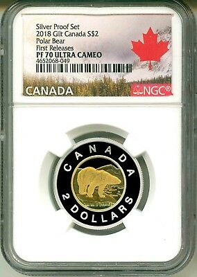 2018 Canada S$2 Silver Proof Set Gilt Polar Bear Toonie FR NGC PF70 Ultra Cameo