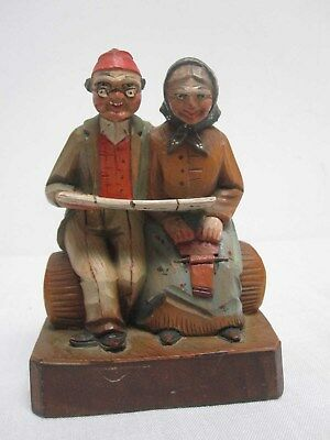 """Antique Anri Wood Carved Man & Woman On A Bench Reading 5"""""""
