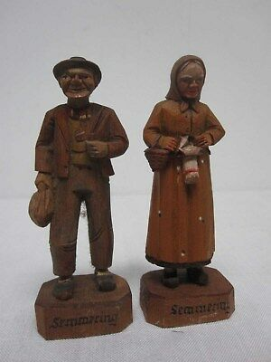 Pair Antique Wood Carved Souvenir Semmering Austria Man & Woman Figures 4 1/4""