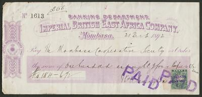 British East Africa 1892 QV Inland Revenue Overprint 1a Used on 184 Rupee Cheque