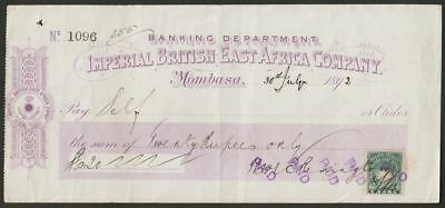 British East Africa 1892 QV unopd 1a Blue-Green Used on 20 Rupee Bank Cheque
