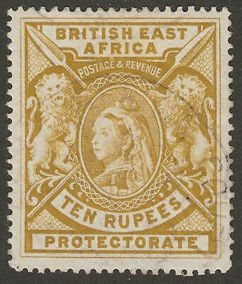 British East Africa 1897 QV 10r Yel-Bistre Fiscal Used SG97 Revenue c£650 as pos