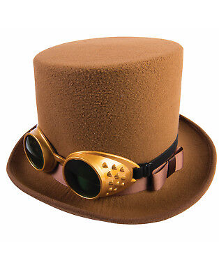 Victorian Brown Steampunk Hat With Goggles Halloween Accessory