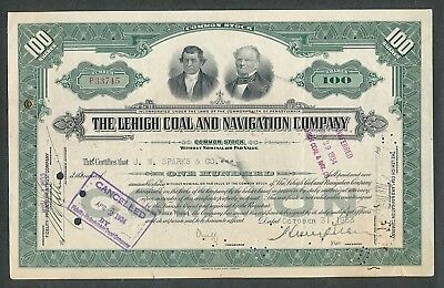 1933 The Lehigh Coal and Navigation Company Stock Certificate