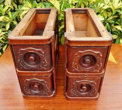 Antique Singer Treadle Sewing Machine Cabinet Drawers ~ Two Sets of Two