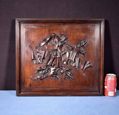*French Antique Gothic Panel in Deeply Carved Walnut Wood w/Linen Folds
