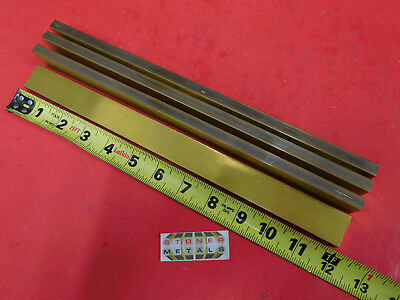 "4 Pieces 3/8"" x 1"" C360 BRASS FLAT BAR 12"" long Solid Mill Stock H02 .375""x 1.0"""