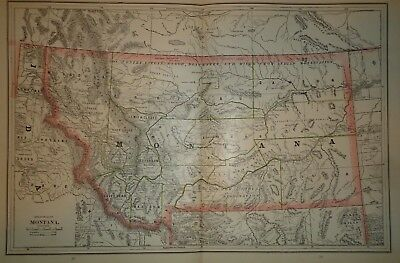 Vintage 1880's MONTANA TERRITORY MAP ~ Old Antique Original Map ~ 51118misc
