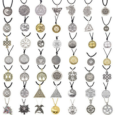 Vintage Necklace Norse Viking Celtic Knot Pendant Chain Women Men Jewelry Amulet