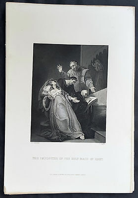 1859 T Gaspey Original Antique Print of the Holy Maid of Kent by A Tresham