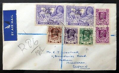 BURMA G.VI Registered Cover to England with 9p Inverted/OPT BC536