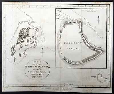 1799 Wilson Antique Map of Gambier Island in French Polynesia