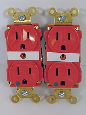 Pass And Seymour Red Hospital Grade Receptacles Slim Duplex Outlet