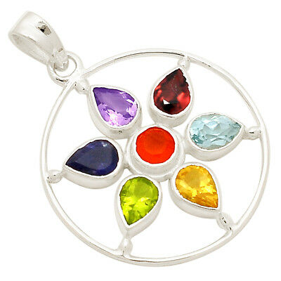 Healing Chakra 925 Sterling Silver Pendant Jewelry N-CP138