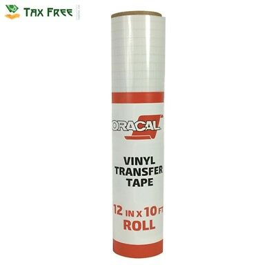 """Oracal 12"""" X 10' Feet Roll CLEAR Transfer Tape w/ Grid for Adhesive Vinyl 