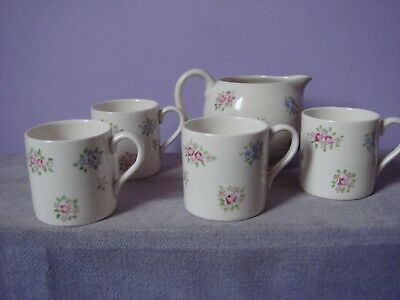 Vintage PLICHTA LONDON Bovey Hand Painted 4 COFFEE CAN & CREAM JUG 1930s
