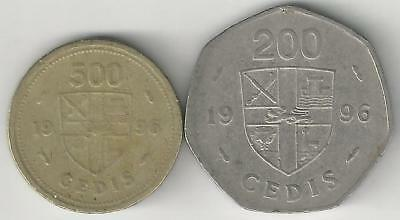 2 DIFFERENT COINS from GHANA - 200 & 500 CEDIS (BOTH DATING 1996)