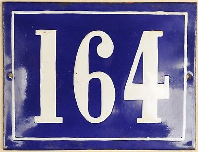 Large old French house number 164 door gate plate plaque enamel steel metal sign