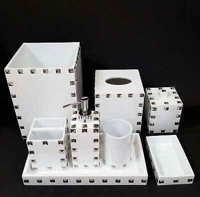 Mike+Ally 8 Pc Set White Resin+Silver Pyramid Studs Soap Dispenser+Trash+Tray+5