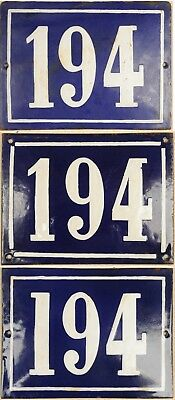 Large old blue French house number 194 door gate wall street sign plate plaque