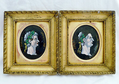 Pair of 17th Century Limoges Enamel on Copper Medallions of Roman Emperors.