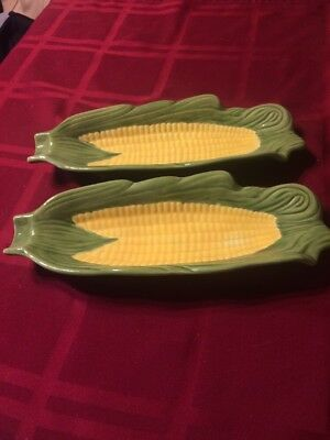 Shawnee Corn King Corn On The Cob Holder Dishes Set Of 2