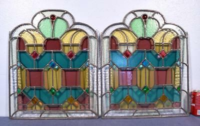 Pair of Antique Stained Glass Panels with Leaded Glass