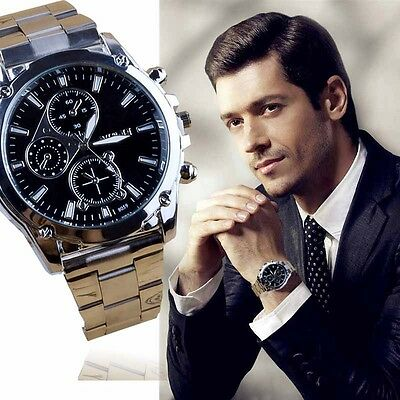 Fashion Mens Watch Military Army Stainless Steel Analog Quartz Sport Wrist Watch