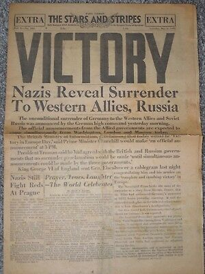 WWII ORIGINAL VICTORY Stars & Stripes Newspaper May 8,1945 RARE German Surrender