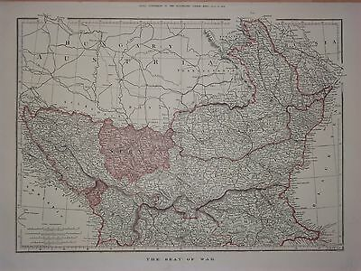 The Seat Of War Europe Antique Map 1876 Illustrated London News 48 X 34Cm