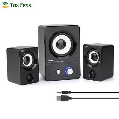 Computer Speakers Stereo System USB Gaming Music Movies PC Laptop Multimedia