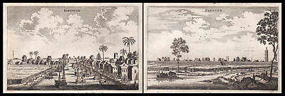 1668 China Asia city view boats ships Kupferstich antique print Nieuhof Asien
