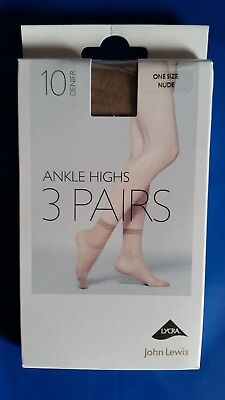 New 6 Pairs of John Lewis Nude Ankle Highs Socks Tights 10 Denier Size UK 4 - 8