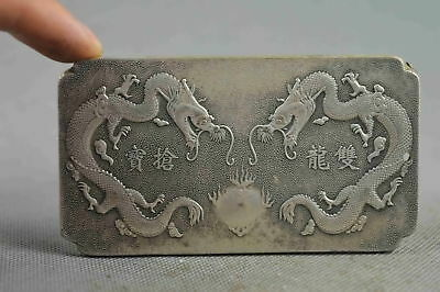 China Collectable Handwork Old Miao Silver Carve Dragon Play Bead Lucky Pendant