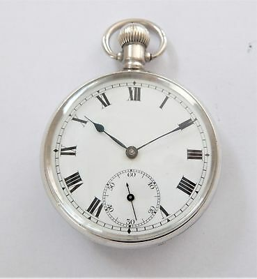 1916 Silver Cased Cunard 15 Jewelled Swiss Lever Pocket Watch In Working Order